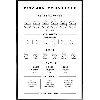 JUNIQE Print - Pomiary konwersji kuchni - Typografia i symbole Plakat w czerni i bieli