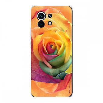 Schale für Xiaomi Mi 11 Weich Silikon 1 Mm, Rosa Blume Bunt