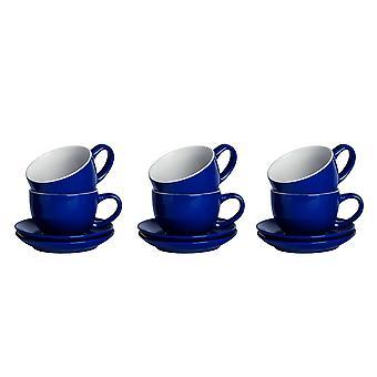 12pc gekleurde cappuccino cup &schotel set porseleinen thee koffie mok 250ml navy