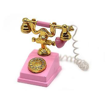 Puppen Haus klassische rosa & Gold 1950 60's Ausgefallene Telefon Miniatur Zubehör