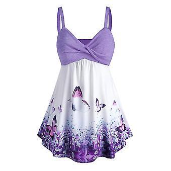 Violetti l naiset plus koko perhonen printti säiliö ylämekko cai1304