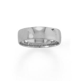 925 Sterling Gümüş Rodyum Kaplama 6mm Bant 6mm Boyutu 10 Kadınlar için Takı Hediyeler - Sterling Gümüş