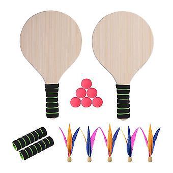 Kids Wooden Paddle Bat And Ball Set Tennis Pingpong Outdoor Garden Games Beach D