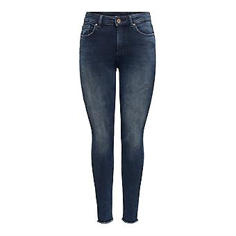 Women ONLY Skinny Ankle Jeans Stretch Denim Pants Cropped ONLBLUSH Trousers fray