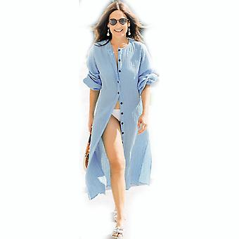Creasing ύφασμα γυναίκες Cardigan beachwear κουμπιά μπικίνι κάλυψη