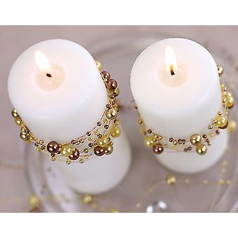 5 Gold 1.3m Pearl Bead Garlands for Crafts & Floristry