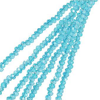 Crystal Beads, Faceted Rondelle 1.5x2.5mm, 2 Strands, Transparent Blue AB