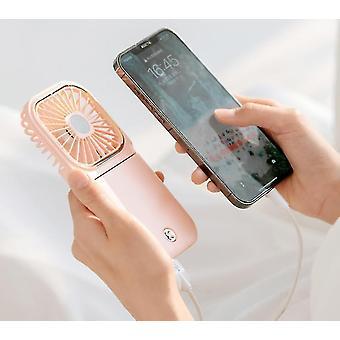 New Handheld Pocket Fan Usb Mini Folding Desktop Small Charging Fan(Pink)