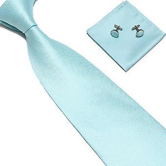 Acessórios para fantasias | Gravata + lenço + abotoaduras-Turquesa