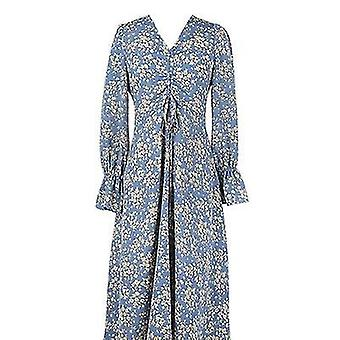 Over The Knee Niche Blue Floral Chiffon Long-sleeved V-neck Dress(S)