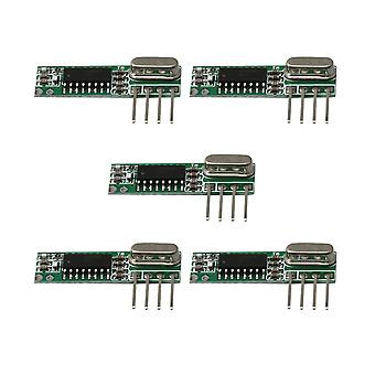 Remote controls 5pcs 433mhz rf high frequency wireless receiver module kit dc3-5.5v green