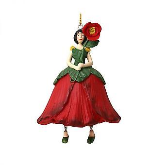 Röd figurin Fairy vallmo blomma för hängande