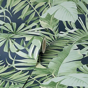 Fine Decor Maui Navy Wallpaper FD42851