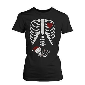 Navidad Santa esqueleto embarazadas bebé radiografía camisa maternidad temática divertida camiseta