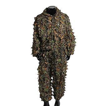 Uomo 3d tattica cecchino vestiti leggero incappucciato camouflage ghillie leaf suit