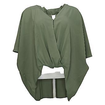 WynneLayers Women's Top Reg Washed Crepe 3/4 Dolman Sleeve Green 758623