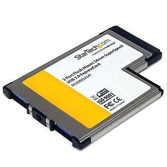 StarTech.com ExpressCard 54 mm SuperSpeed USB 3.0 Kurzadapter mit 2 Ports Einbauhalterung