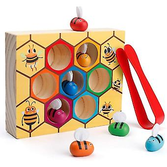Toddler fine motor skill toy clamp bee to hive matching game mz1138