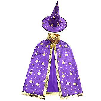 """Homemiyn 2pcs ליל כל הקדושים תחפושות כובע גלימה Cosplay תלבושות להגדיר מסיבת ליל כל הקדושים קייפ לילדים (גובה 90-140 ס""""מ)"""