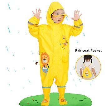 1-10 Jahre alte Kinder Blaue Dinosaurier Regenmantel Outdoor Jumpsuits Wasserdicht Regenbekleidung Baby Junge Mädchen Regenmantel und Regenhose Anzug