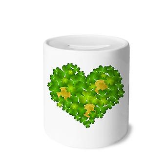 Clover Heart Ireland Print Keramik Sparschwein