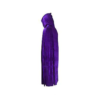 Adult Halloween Velvet Cloak Cape Hooded Medieval Costume Witch Wicca Vampire Halloween Costume Dress Coats Purple