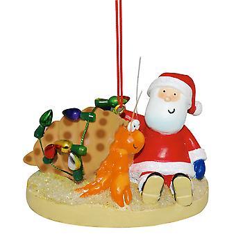 Kerstman met Hermit Crab met strand Kerstmis Vakantiewoningen Ornament