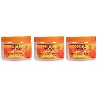 Cantu Natural Hair Define And Shine Custard 12oz Jar (3 Pack)