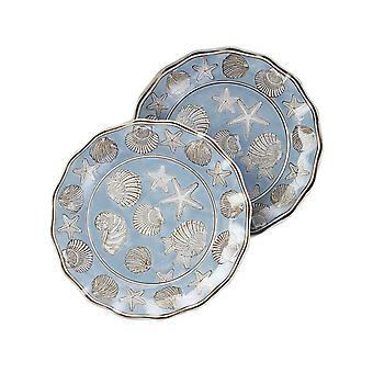 14 1/4 Inch Diameter Seashell Design Round Platter