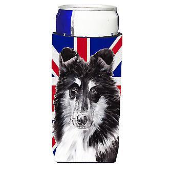 Collie bianco e nero con inglese Union Jack bandiera britannica Ultra bevanda Insul
