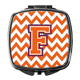 Letter F Chevron Orange and Regalia Compact Mirror