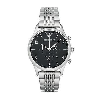 Emporio Armani Mens Chronograph Watch in acciaio inox cinturino quadrante nero AR1863
