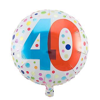 Folienballon Geburtstag Zahl 40 rainbow dots circa 45cm