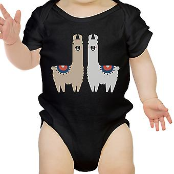 Llama Pattern Infant Bodysuit Gift Black