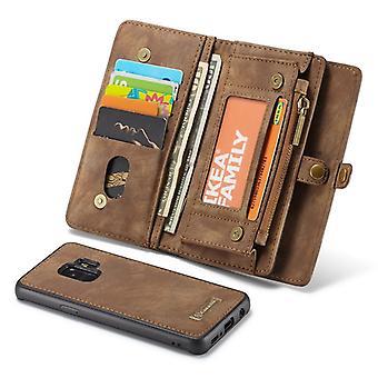 CaseMe protection housse de téléphone portable pour Samsung Galaxy S9 G960F sac à main + pochette brun café