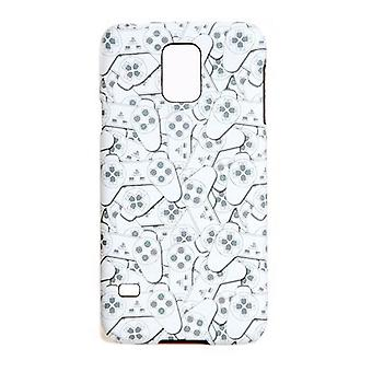 PlayStation Samsung S5 controller all-over patroon telefoon cover wit/grijs