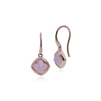 Rose Plated Sterling Silver Cushion Sugarloaf Rose Quartz Drop Earrings 270E023601925