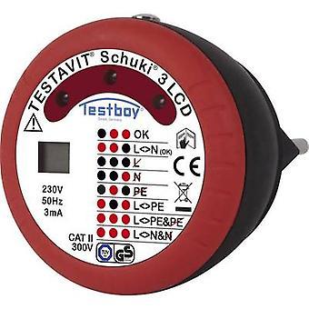 Testboy Testavit Schuki 3 LCD Mains outlet tester CAT II 300 V LED, LCD