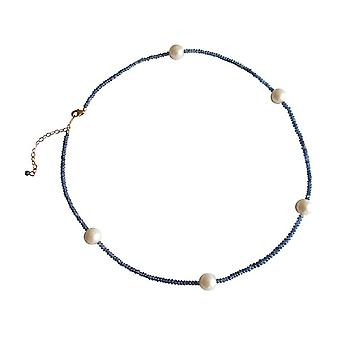 Beaded gems Sapphire and 9 mm Pearl Necklace gold plated