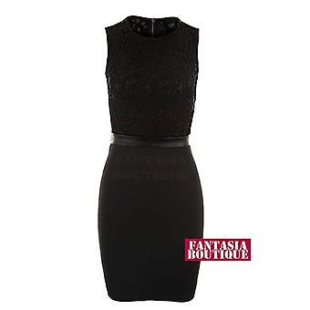 Vestido das senhoras contraste sem mangas creme renda Floral preta Bodycon mulheres
