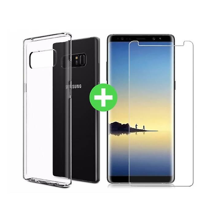Stuff Certified® Samsung Galaxy Note 8 Transparent TPU Case + Screen Protector Tempered Glass