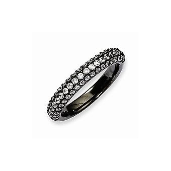 925 Sterling Silver Black Plated With CZ Cubic Zirconia Simulated Diamond Ring Jewelry Gifts for Women - Ring Size: 6 to