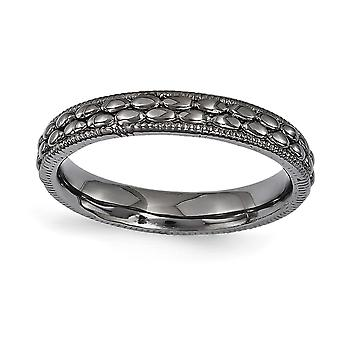 3.5mm 925 Sterling Silver Polished Ruthenium plating Stackable Expressions Ruthenium plated Patterned Ring Jewelry Gifts