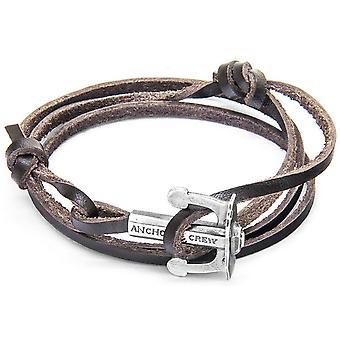 Verankern und Crew Union Silber und Leder Armband - dunkelbraun
