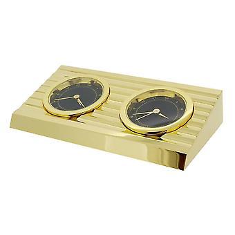 Gift van tijd producten 2 tijdzone bureauklok - goud/zwart