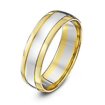 Star Wedding Rings 9ct White & Yellow Gold Court Shape 6mm Wedding Ring