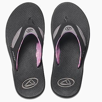Womens sandales avec décapsuleur de récif ~ Fanning noir/gris