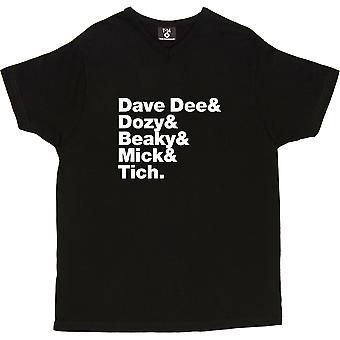 Dave Dee, Dozy, Beaky, Mick et Tich Line-Up V-Neck Black Men-apos;s T-Shirt