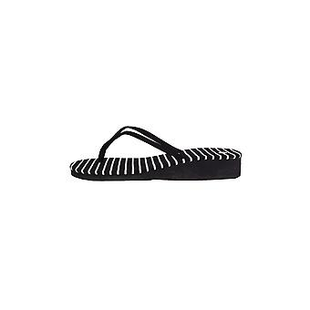 Lovemystyle Black And White Stripe Flip Flops With Wedge