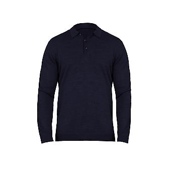 Long Sleeve Signature Knitted Polo - Navy